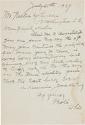 Autographs:Letters, 1927 Cy Young Handwritten Signed Letter of Congratulations toWalter Johnson....