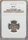 Seated Dimes: , 1891-O 10C MS64 NGC. NGC Census: (52/35). PCGS Population (54/35).Mintage: 4,540,000. Numismedia Wsl. Price for problem fr...
