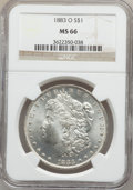Morgan Dollars: , 1883-O $1 MS66 NGC. NGC Census: (1003/32). PCGS Population(682/35). Mintage: 8,725,000. Numismedia Wsl. Price for problem ...