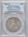 Seated Half Dollars, 1842-O 50C Medium Date, Large Letters, Reverse of 1842 -- Damage --PCGS Genuine. AU Details. NGC Census: (0/33). PCGS Popu...