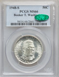 Commemorative Silver: , 1948-S 50C Booker T. Washington MS66 PCGS. CAC. PCGS Population(285/10). NGC Census: (305/62). Mintage: 8,005. Numismedia ...