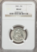 Seated Quarters: , 1845 25C MS62 NGC. NGC Census: (10/39). PCGS Population (13/27).Mintage: 922,000. Numismedia Wsl. Price for problem free N...