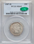 Barber Quarters: , 1907-D 25C MS62 PCGS. CAC. PCGS Population (14/71). NGC Census: (6/60). Mintage: 2,484,000. Numismedia Wsl. Price for probl...