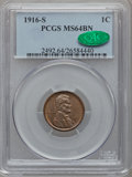 Lincoln Cents: , 1916-S 1C MS64 Brown PCGS. CAC. PCGS Population (87/15). NGCCensus: (85/36). Mintage: 22,510,000. Numismedia Wsl. Price fo...
