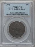 Large Cents: , 1798 1C Second Hair Style Fine 12 PCGS. S-170. PCGS Population(28/239). NGC Census: (5/82). Numismedia Wsl. Price for pr...