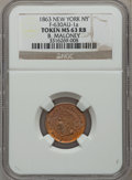 Civil War Merchants, 1863 B. Maloney, New York, New York MS63 Red and Brown NGC.Fuld-NY630AU-1a....