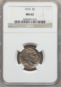 Buffalo Nickels: , 1915 5C MS62 NGC. NGC Census: (126/1068). PCGS Population(62/1707). Mintage: 20,987,270. Numismedia Wsl. Price forproblem...