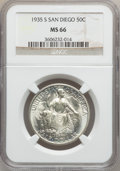 Commemorative Silver: , 1935-S 50C San Diego MS66 NGC. NGC Census: (643/90). PCGSPopulation (1587/116). Mintage: 70,132. Numismedia Wsl. Pricefor...