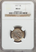 Buffalo Nickels: , 1917 5C MS61 NGC. NGC Census: (17/774). PCGS Population (8/1208).Mintage: 51,424,020. Numismedia Wsl. Price for problem fr...
