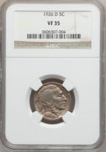 Buffalo Nickels: , 1926-D 5C VF35 NGC. NGC Census: (20/643). PCGS Population(17/1095). Mintage: 5,638,000. Numismedia Wsl. Price for problem...