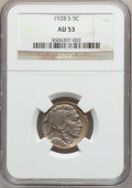 Buffalo Nickels: , 1928-S 5C AU53 NGC. NGC Census: (8/633). PCGS Population (14/828).Mintage: 6,936,000. Numismedia Wsl. Price for problem fr...
