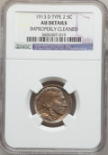 Buffalo Nickels: , 1913-D 5C Type Two -- Improperly Cleaned -- NGC Details. AU. NGCCensus: (17/795). PCGS Population (42/1097). Mintage: 4,15...