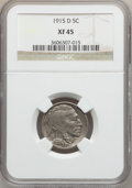 Buffalo Nickels: , 1915-D 5C XF45 NGC. NGC Census: (23/792). PCGS Population(59/1063). Mintage: 7,569,000. Numismedia Wsl. Price for problem...