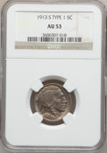 Buffalo Nickels: , 1913-S 5C Type One AU53 NGC. NGC Census: (11/1274). PCGS Population(32/1991). Mintage: 2,105,000. Numismedia Wsl. Price fo...