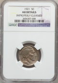 Buffalo Nickels: , 1921 5C -- Improperly Cleaned -- NGC Details. AU. NGC Census:(1/628). PCGS Population (6/998). Mintage: 10,663,000. Numism...