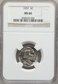 Buffalo Nickels: , 1937 5C MS66 NGC. NGC Census: (4078/352). PCGS Population(3545/316). Mintage: 79,485,768. Numismedia Wsl. Price forproble...