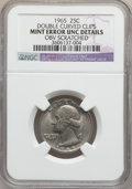 Errors, 1965 25C Washington Quarter Dollars-- Double Curved Clips----Obverse Scratched -- NGC Details. UNC. NGC Census: (0/215). P...