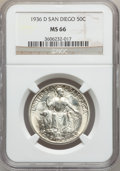 Commemorative Silver: , 1936-D 50C San Diego MS66 NGC. NGC Census: (434/47). PCGSPopulation (768/74). Mintage: 30,092. Numismedia Wsl. Price forp...