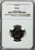 Proof Jefferson Nickels: , 1938 5C PR65 NGC. NGC Census: (317/630). PCGS Population(769/1016). Mintage: 19,365. Numismedia Wsl. Price for problemfre...