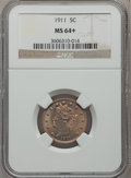 Liberty Nickels: , 1911 5C MS64+ NGC. NGC Census: (438/191). PCGS Population(518/246). Mintage: 39,559,372. Numismedia Wsl. Price forproblem...