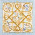 "Luxury Accessories:Accessories, Hermes Light Blue and Gold ""Caraibes,"" by Christiane Vauzelles SilkScarf. ..."