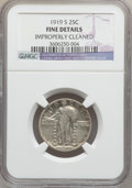 Standing Liberty Quarters: , 1919-S 25C -- Improperly Cleaned -- NGC Details. FINE. NGC Census:(5/355). PCGS Population (7/561). Mintage: 1,836,000. Nu...