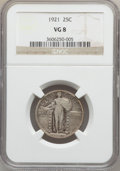 Standing Liberty Quarters: , 1921 25C VG8 NGC. NGC Census: (36/675). PCGS Population (23/1041).Mintage: 1,916,000. Numismedia Wsl. Price for problem fr...