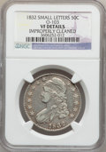 Bust Half Dollars: , 1832 50C Small Letters -- Improperly Cleaned -- NGC Details. VF.O-103. NGC Census: (20/1909). PCGS Population (20/2062). ...