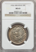 Commemorative Silver: , 1936 50C Arkansas MS65 NGC. NGC Census: (259/64). PCGS Population(293/98). Mintage: 9,660. Numismedia Wsl. Price for probl...