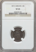 Seated Dimes: , 1873 10C Arrows VF25 NGC. NGC Census: (3/152). PCGS Population(4/191). Mintage: 2,378,500. Numismedia Wsl. Price for probl...