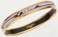 Luxury Accessories:Accessories, Hermes 70mm Pink and Brown Gold Enamel Bangle Bracelet. ...