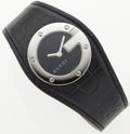 Luxury Accessories:Accessories, Gucci Black Leather 104L Watch with Stainless Steel Face. ...