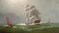 Fine Art - Painting, American, FRANKLIN STANWOOD (American, 1852-1888). The EmigrantShip-England Farewell. Oil on canvas. 38-3/4 x 64-3/4 inches(98.4...
