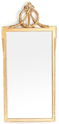Decorative Arts, French:Other , A NEOCLASSICAL-STYLE GILT CARVED WOOD MIRROR . Circa 1920. 53 highx 24 inches wide (134.6 x 61.0 cm). ...