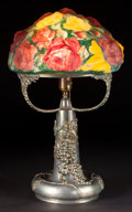 Art Glass:Other , A PAIRPOINT PUFFY TABLE LAMP: ROSES . Circa 1900. Marks tobase: PAIRPOINT MFG. CO., P (inside diamond), ... (Total:2 Items)