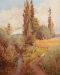 American:Regional, ADOLPHE-FRÉDÉRIC LEJEUNE (French, 1830-1930). Autumn Landscapewith Creek. Oil on board. 17 x 13-1/2 inches (43.2 x 34.3...