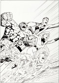Original Comic Art:Covers, Alan Davis and Mark Farmer Wizard the Comics Magazine#74 Fantastic Four Cover Original Art (Wizard, 1...