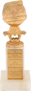 "Movie/TV Memorabilia:Awards, A Marlon Brando Golden Globe Award for ""On The Waterfront.""..."
