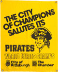 Baseball Collectibles:Others, 1971 and 1979 Pittsburgh Pirates World Championship CelebrationBanners Lot of 2....