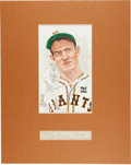 Autographs:Others, 1930's Mel (Melvin) Ott Signed Cut Signature Display....