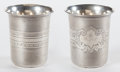 Silver Holloware, American:Cups, TWO CONTINENTAL SILVER KIDDUSH CUPS: ONE IN ORIGINAL BOX . Circa1860. Marks: 13 . 3-3/8 inches high (8.6 cm) (taller). ...(Total: 3 Items)