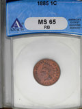 1885 1C MS65 Red and Brown ANACS. Ex: John L. Harris Collection. NGC Census: (73/17). PCGS Population (38/4). Mintage: 1...