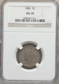 Liberty Nickels: , 1886 5C VG10 NGC. NGC Census: (27/348). PCGS Population (41/627).Mintage: 3,330,290. Numismedia Wsl. Price for problem fre...