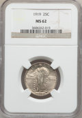 Standing Liberty Quarters: , 1919 25C MS62 NGC. NGC Census: (51/404). PCGS Population (68/563).Mintage: 11,324,000. Numismedia Wsl. Price for problem f...
