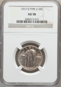 Standing Liberty Quarters: , 1917-D 25C Type Two AU58 NGC. NGC Census: (83/310). PCGS Population(140/392). Mintage: 6,224,400. Numismedia Wsl. Price fo...