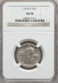 Standing Liberty Quarters: , 1918-D 25C AU50 NGC. NGC Census: (5/355). PCGS Population (26/554).Mintage: 7,380,000. Numismedia Wsl. Price for problem f...