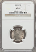 Liberty Nickels: , 1898 5C MS62 NGC. NGC Census: (35/319). PCGS Population (51/390).Mintage: 12,532,087. Numismedia Wsl. Price for problem fr...