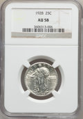 Standing Liberty Quarters: , 1928 25C AU58 NGC. NGC Census: (78/456). PCGS Population (99/572).Mintage: 6,336,000. Numismedia Wsl. Price for problem fr...