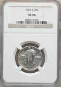 Standing Liberty Quarters: , 1927-S 25C VF20 NGC. NGC Census: (45/494). PCGS Population(135/823). Mintage: 396,000. Numismedia Wsl. Price for problem f...