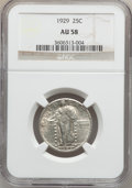 Standing Liberty Quarters: , 1929 25C AU58 NGC. NGC Census: (93/532). PCGS Population (206/727).Mintage: 11,140,000. Numismedia Wsl. Price for problem ...